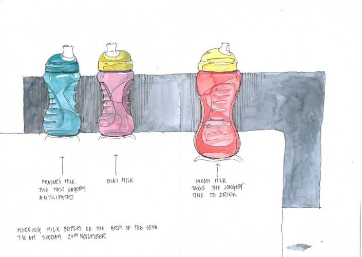 milk bottles on the sofa
